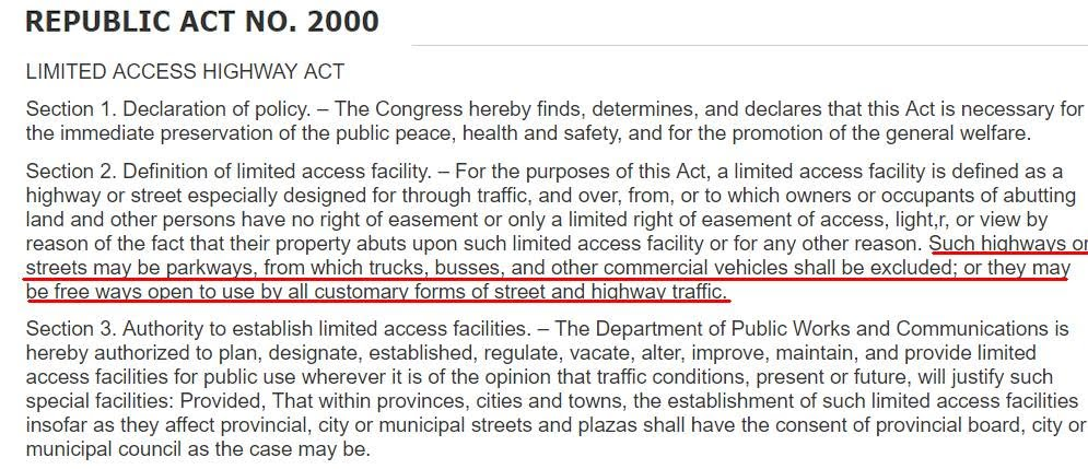 Republic Act 2000 Limited Access Highway Act